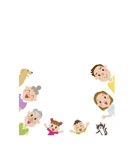 三世代家族枠のイラスト素材 [FYI03102153]