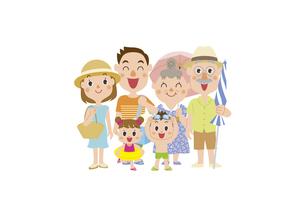 海水浴に行く三世代家族のイラスト素材 [FYI03102155]