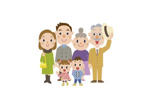 冬服で外出する三世代家族のイラスト素材 [FYI03102158]