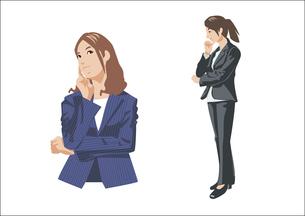 悩んだり考え事をしている女性のイラスト素材 [FYI03102177]