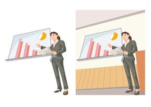 会社の成果について説明している女性社員のイラスト素材 [FYI03102197]