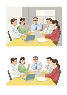 上司を中心にして定例会議中の部下達のイラスト素材 [FYI03102198]