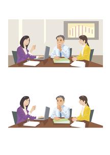 意見交換をしている上司と部下のイラスト素材 [FYI03102203]
