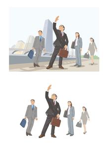 舵取りをする上司についていく若手営業マン達のイラスト素材 [FYI03102204]