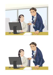 上司にアドバイスを受ける新入社員のイラスト素材 [FYI03102214]