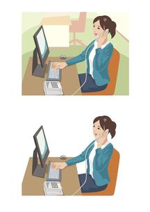 取引先と電話をしながらデータを確認している女性社員のイラスト素材 [FYI03102216]