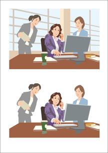 上司と歓談しながら打ち合わせをしている女性社員のイラスト素材 [FYI03102219]
