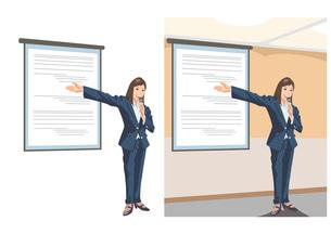 新事業のプレゼンテーションをしている女性社員のイラスト素材 [FYI03102220]
