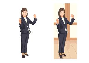 新しい仕事の獲得を目指してガッツポーズをとる新入女性社員のイラスト素材 [FYI03102227]