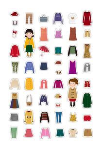 女の子とお洋服のイラスト素材 [FYI03102236]