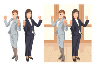 明るい未来を目指してガッツポーズをとる新入女性社員のイラスト素材 [FYI03102239]