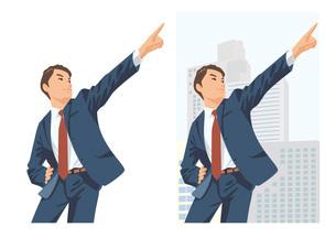 明るい未来を見つめ空を指差す男性新入社員のイラスト素材 [FYI03102241]