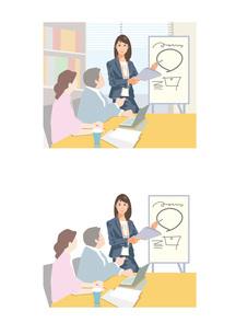 新しいシステムについて説明している女性社員のイラスト素材 [FYI03102245]