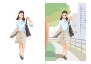 仕事先へ足早で向かうビジネスウーマンのイラスト素材 [FYI03102246]