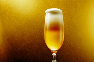 金色背景のグラスのビールの写真素材 [FYI03102347]