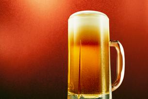 赤色背景のジョッキのビールの写真素材 [FYI03102354]