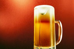 赤色背景のジョッキのビールの写真素材 [FYI03102355]