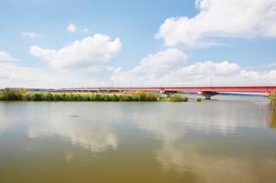 行方市側より霞ヶ浦大橋の写真素材 [FYI03105369]