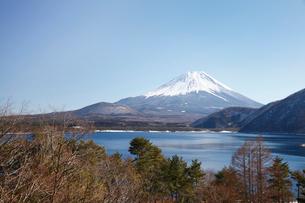 浩庵キャンプ場前より望む本栖湖と富士山の写真素材 [FYI03106164]