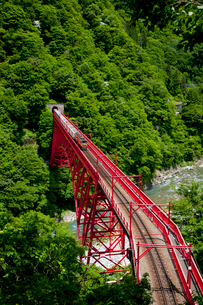 やまびこ展望台より眺める黒部峡谷トロッコ列車の写真素材 [FYI03108008]