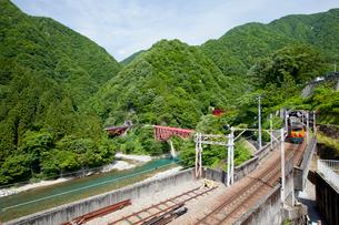 やまびこ遊歩道より眺める黒部峡谷トロッコ列車の写真素材 [FYI03108018]
