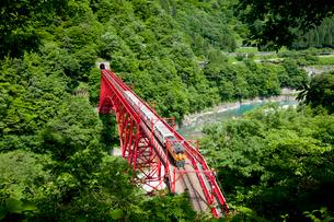 やまびこ展望台より眺める黒部峡谷トロッコ列車の写真素材 [FYI03108019]