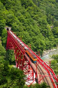 やまびこ展望台より黒部渓谷トロッコ電車を望むの写真素材 [FYI03108854]