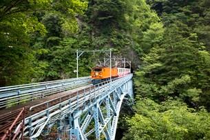 後曳橋を走行中の黒部峡谷トロッコ列車の写真素材 [FYI03109604]