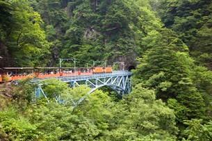 後曳橋を走行中の黒部峡谷トロッコ列車の写真素材 [FYI03109608]
