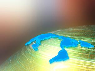 球体上を高速移動する光線と世界地図の写真素材 [FYI03114488]