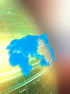 球体上を高速移動する光線と世界地図の写真素材 [FYI03114490]