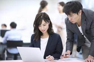 パソコンを見て打ち合わせをする男女のビジネスマンの写真素材 [FYI03114697]