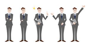 ビジネスマン 表情バリエーションのイラスト素材 [FYI03114707]