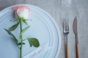 生花を使ったテーブルコーディネートの写真素材 [FYI03114837]