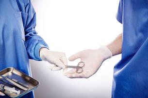 手術中の医師にハサミを渡す手元の写真素材 [FYI03114877]
