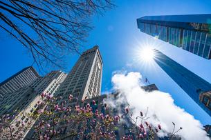 ミッドタウン マンハッタンの高級高層コンドミニアムと漂うスティームを照す太陽。の写真素材 [FYI03115077]