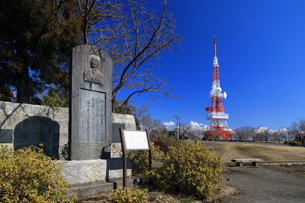湘南平 登山家岡野金次郎の石碑の写真素材 [FYI03115566]