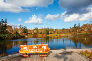 沼畔から秋の神仙沼の写真素材 [FYI03115859]