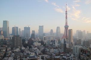 朝焼けの東京タワーと朝日を受けて輝く港区のビル群の写真素材 [FYI03117852]