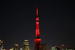 開業60周年の特別イルミネーションにライトアップされた東京タワーの写真素材 [FYI03117855]
