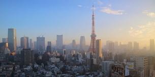 朝焼けの東京タワーと朝日を受けて輝く港区のビル群の写真素材 [FYI03117857]
