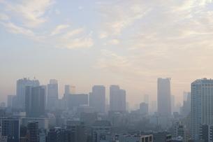 朝焼けの東京タワーと朝日を受けて輝く港区のビル群の写真素材 [FYI03117864]