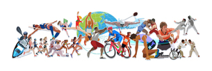 地球とオリンピックスポーツのイラスト素材 [FYI03118144]