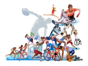 ポップな街とオリンピックスポーツ 2のイラスト素材 [FYI03118155]