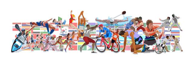 国旗とオリンピックスポーツ 横位置のイラスト素材 [FYI03118160]