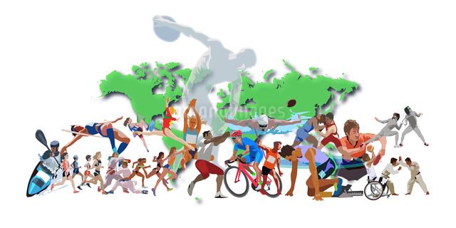 世界地図とオリンピックスポーツ 4のイラスト素材 [FYI03118162]