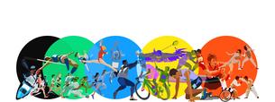 五色の円とオリンピックスポーツのイラスト素材 [FYI03118163]