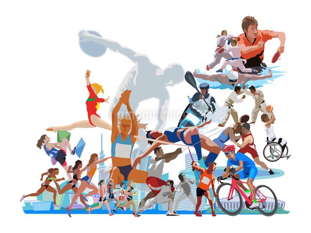 街とオリンピックスポーツのイラスト素材 [FYI03118164]