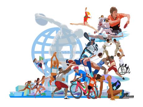 ポップな街とオリンピックスポーツのイラスト素材 [FYI03118169]