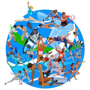 青円形オリンピックスポーツのイラスト素材 [FYI03118173]